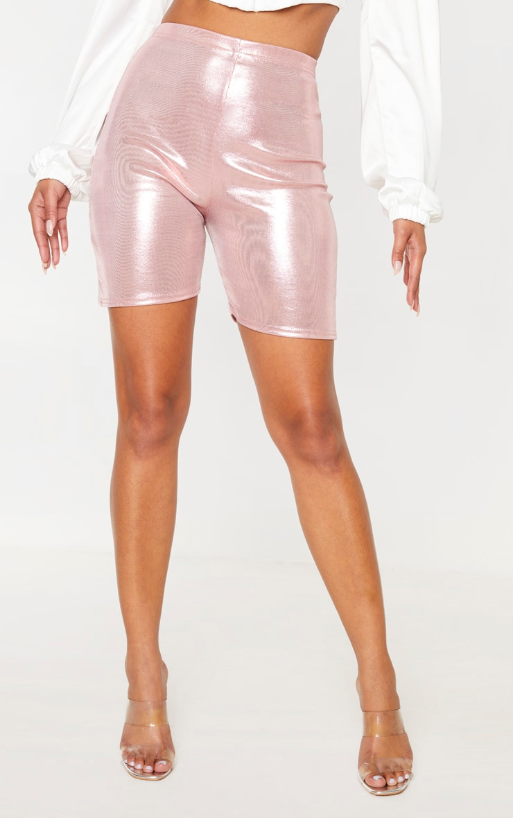 Pink Metallic Slinky Foil Bike Short 2