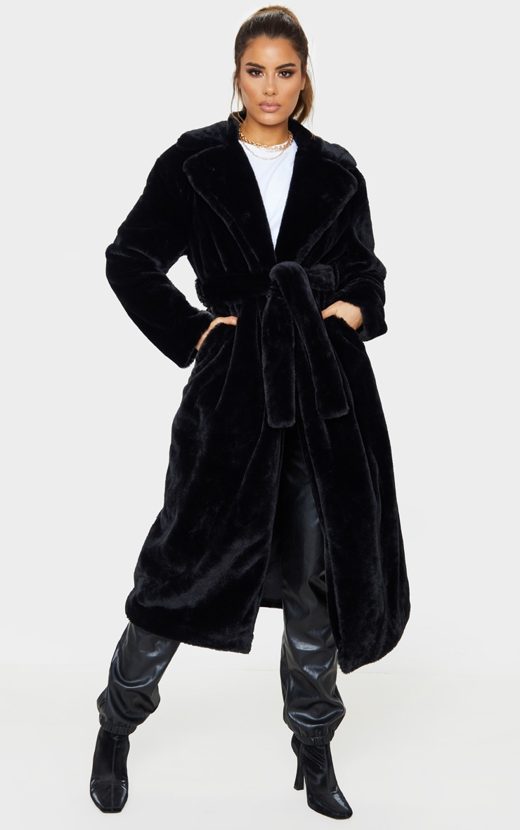 Tall Black Belted Faux Fur Coat 1