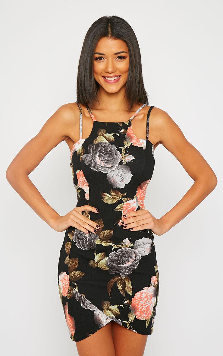 Ashleigh Black Crepe Floral Print Curved Hem Mini Dress 3