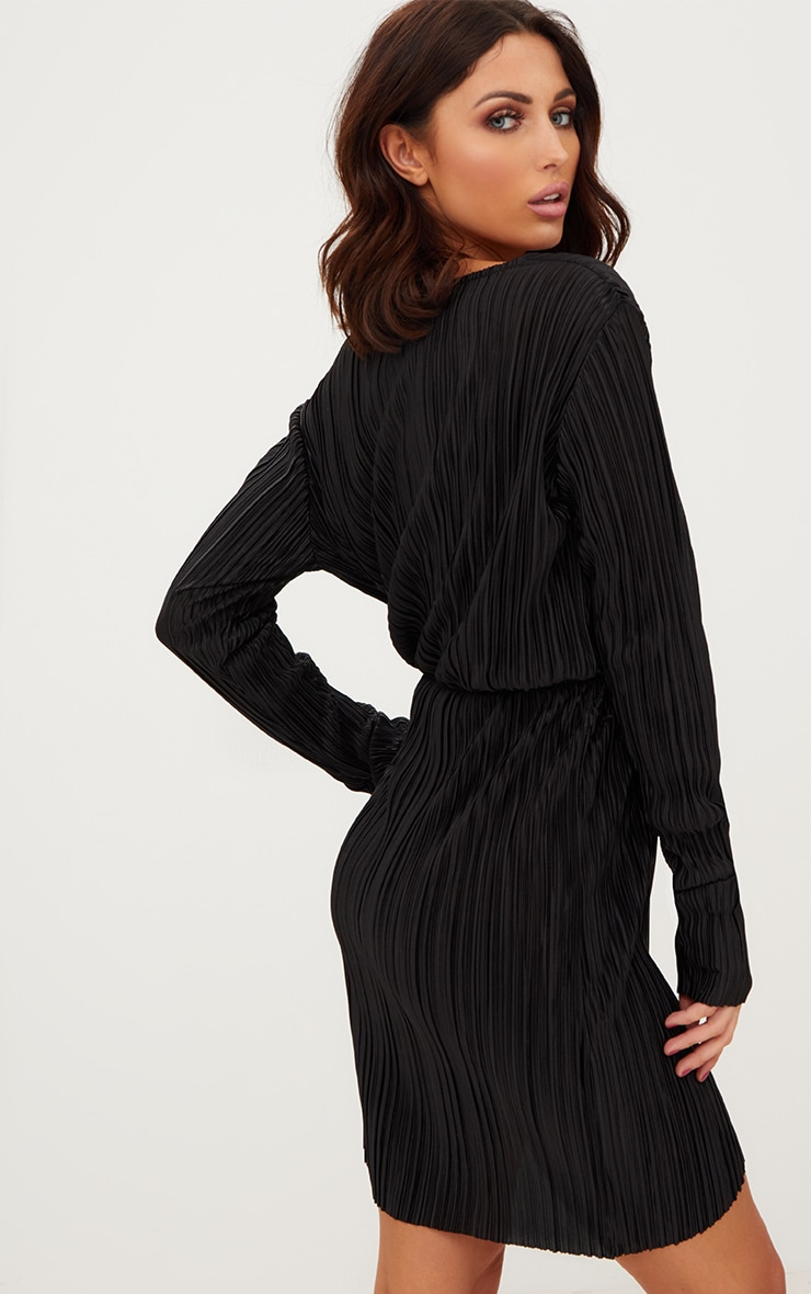 Black Long Sleeved Plunge Pleated Wrap Dress 2