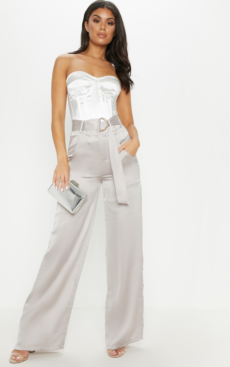 Silver Grey Satin D Ring Belt Wide Leg Trouser 1