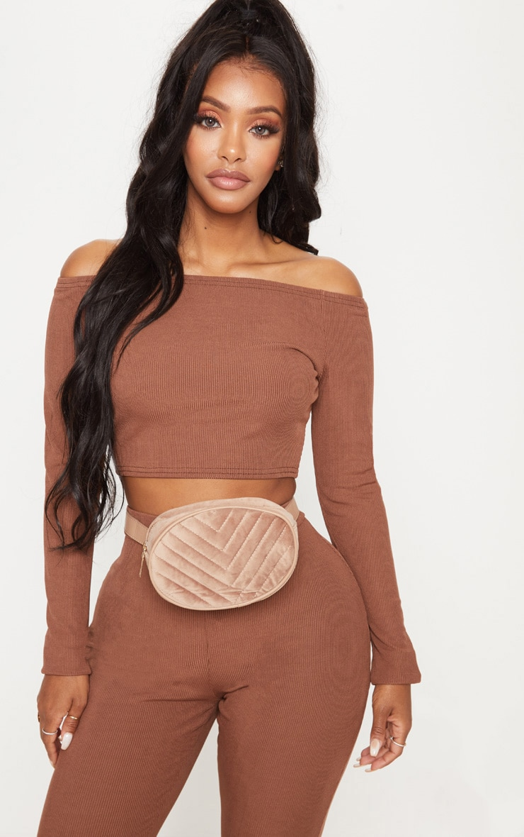 Shape Chocolate Brown Ribbed Bardot Long Sleeve Crop Top 1