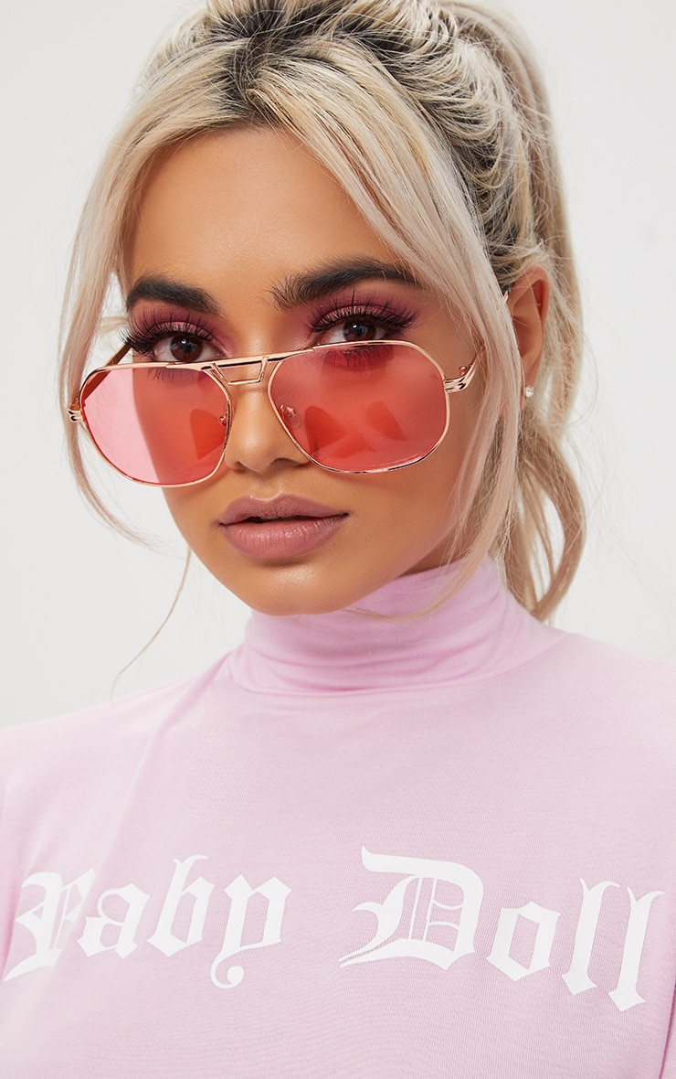 Pink Metal Frame Retro Aviator Sunglasses 1