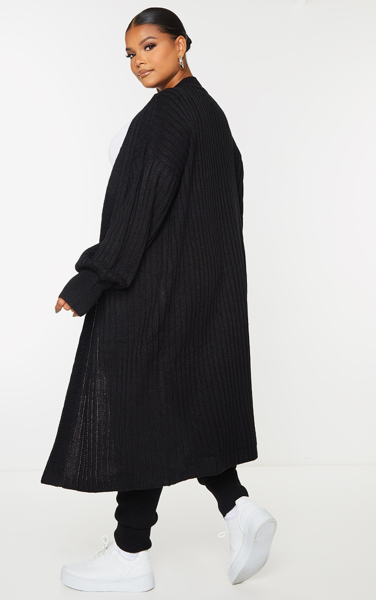 Plus Black Ribbed Knit Midi Cardigan 2
