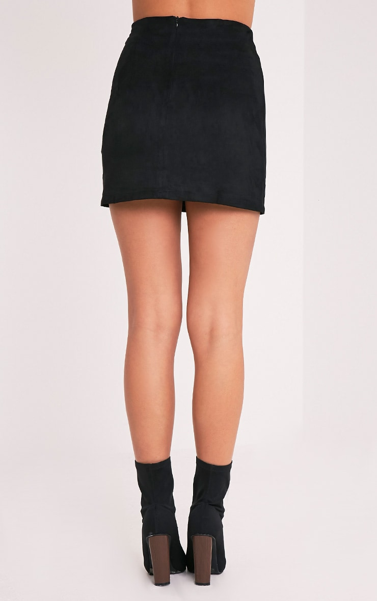 Lauree Black Faux Suede Mini Skirt 5