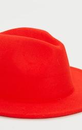Tomato Red Felt Fedora Hat 3
