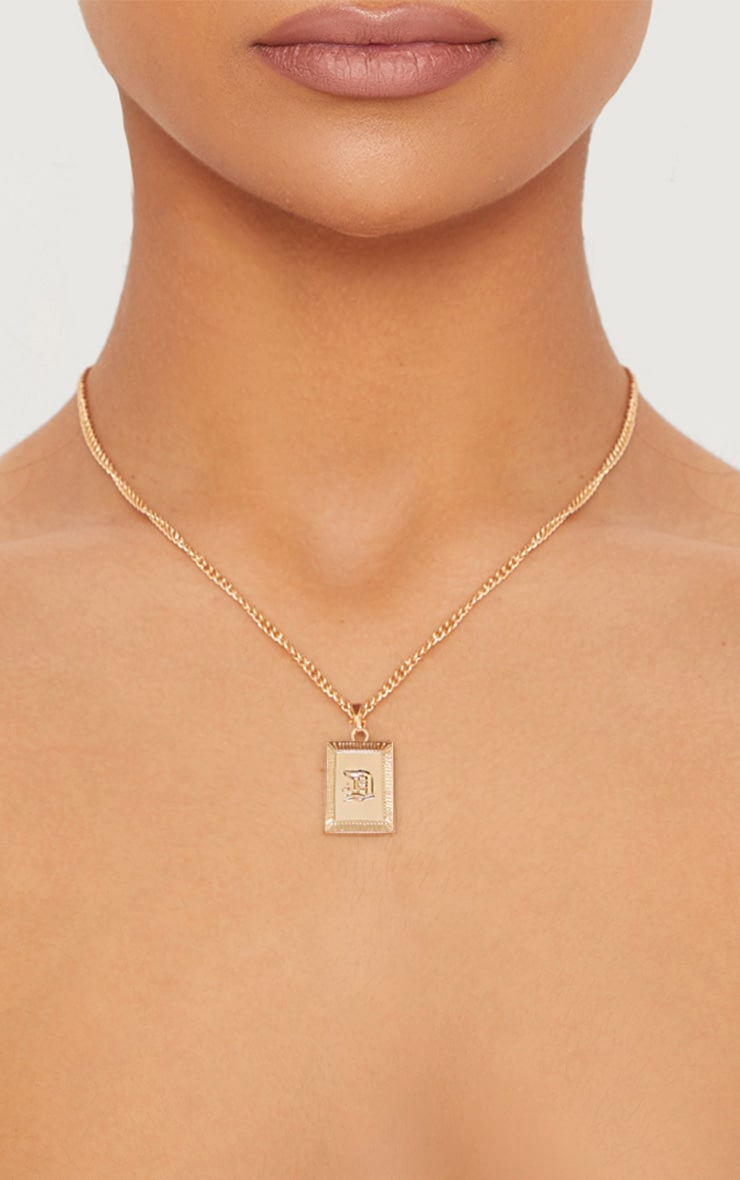 Gold Square Letter D Pendant Necklace 1