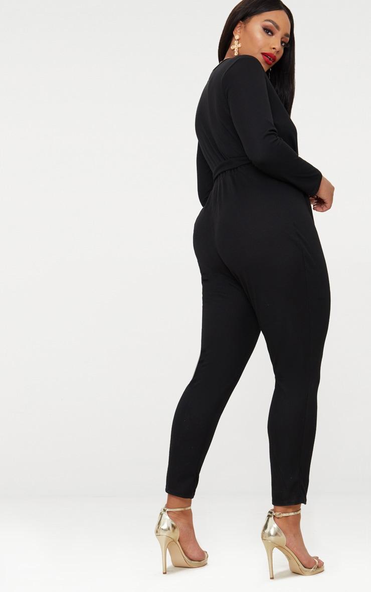 Plus Black Ribbed Wrap Front Jumpsuit 2