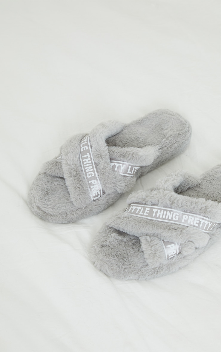 PRETTYLITTLETHING Grey Satin Logo Tape Cross Strap Slippers 4
