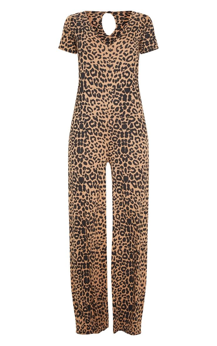 Beige Leopard Print Jersey Wide Leg Jumpsuit 3