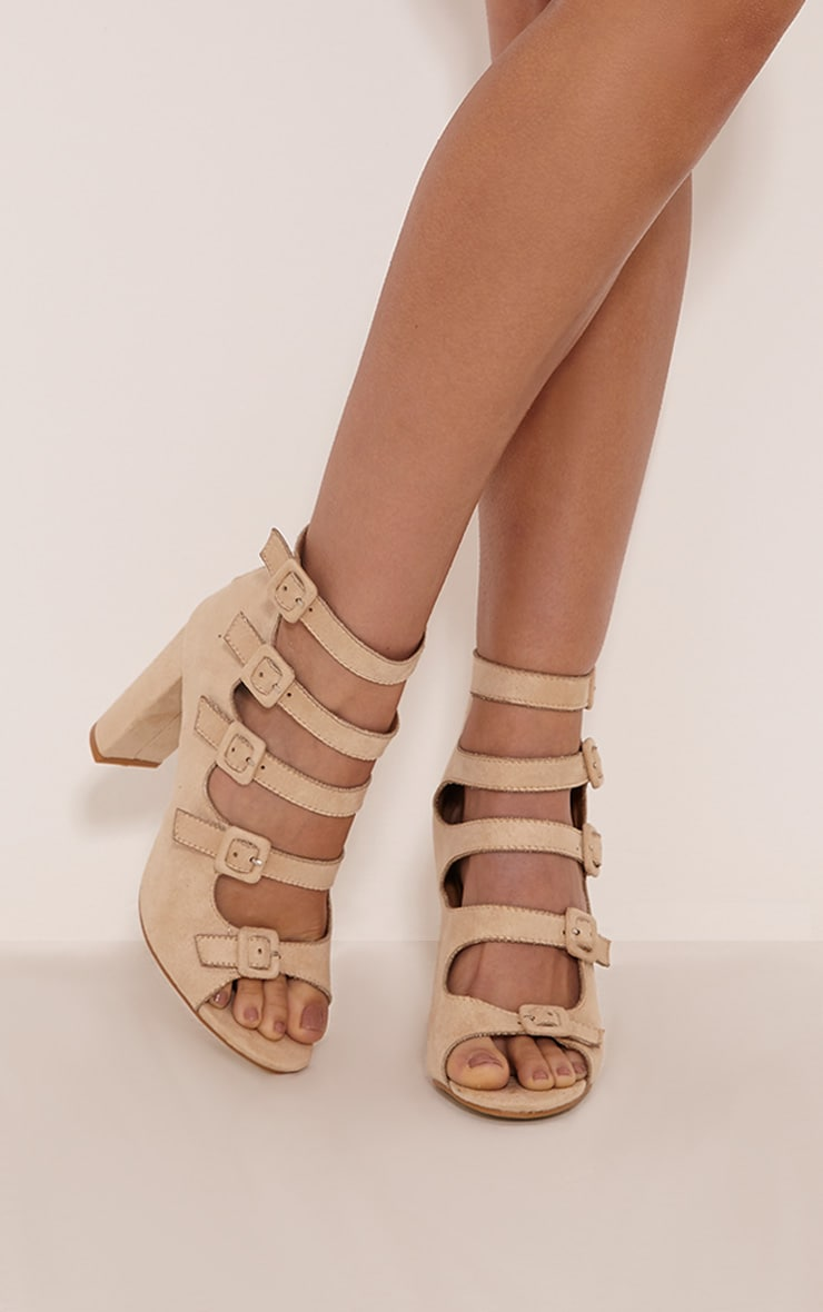 Lealla Cream Faux Suede Multi Strap Sandals 1