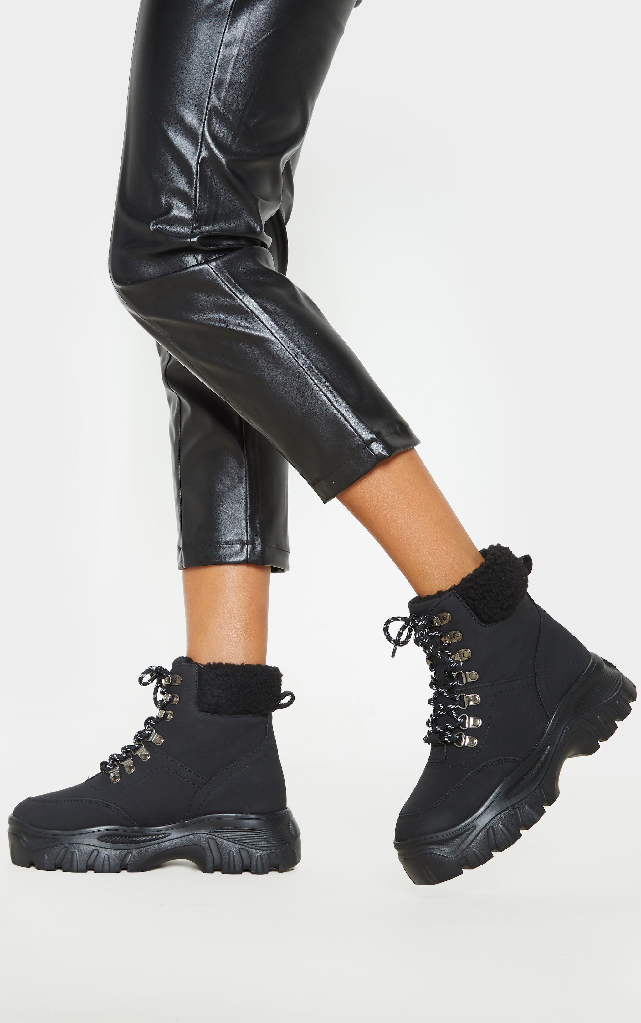 Black Faux Fur Detail Chunky Hiker Boot 2