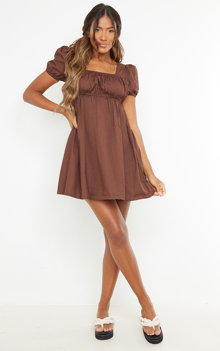 Chocolate Ruched Bust Short Sleeve Square Neck Shift Dress 1