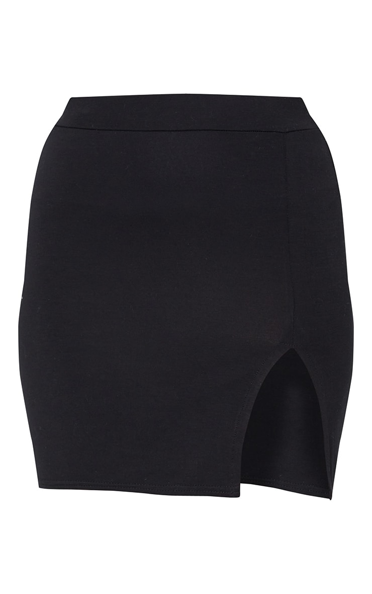 Black Jersey Side Split Mini Skirt 6