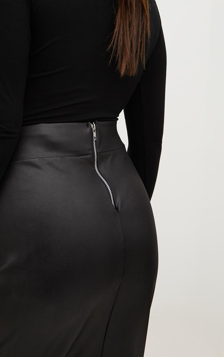 Plus Black Zip Back PU Midi Skirt 5