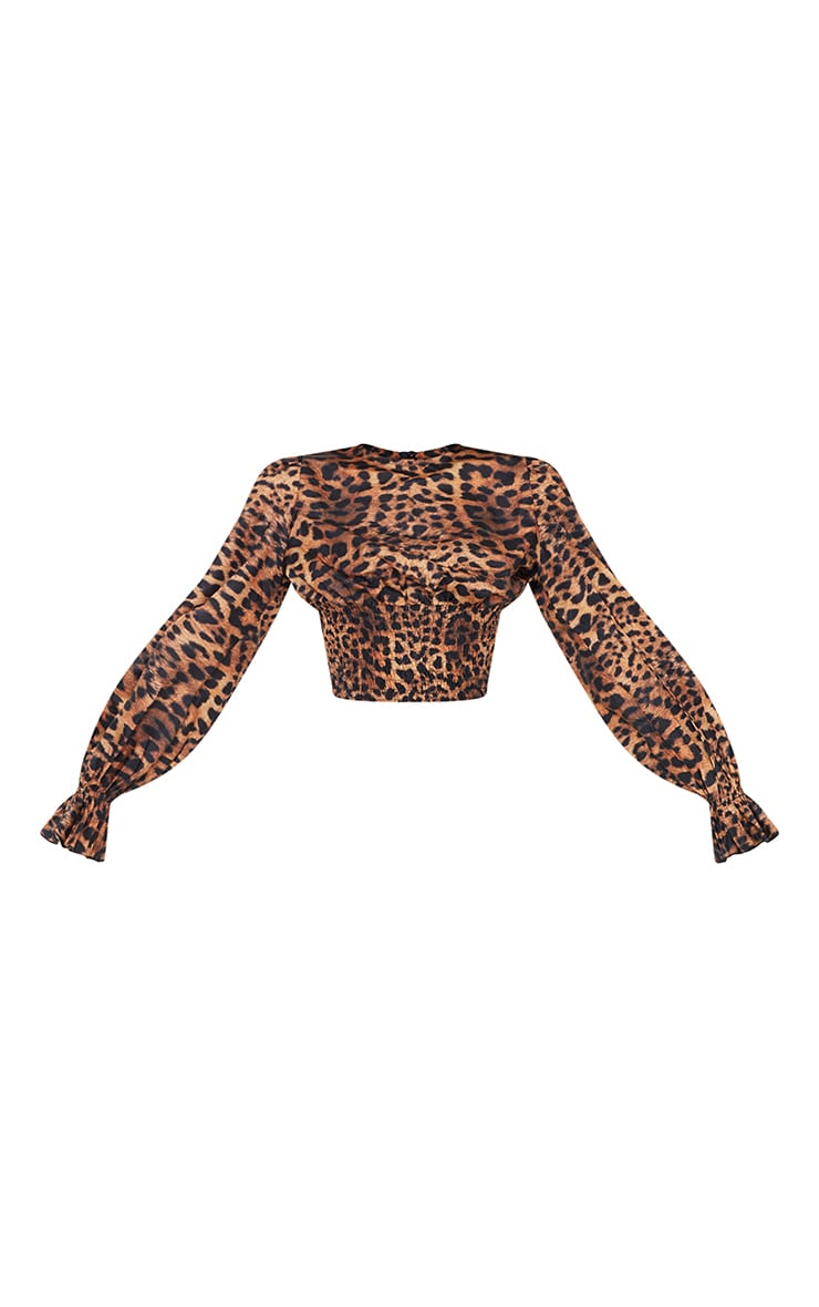 Tan Woven Animal Print Ruched Waist Long Sleeve Blouse 5