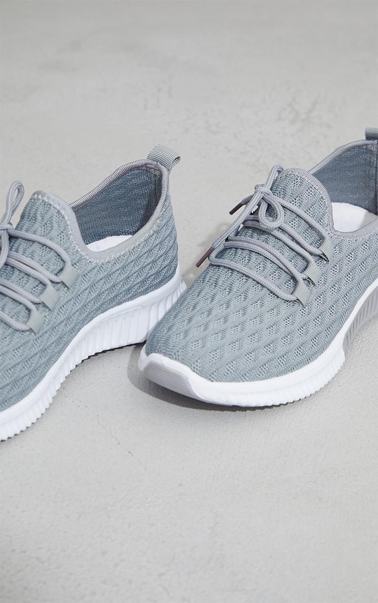 Grey Knitted Lace Up Sports Sneakers 4