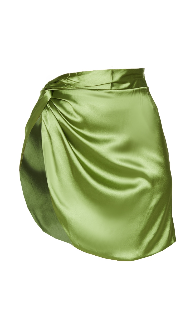 Olive Satin Knot Detail Asymmetric Mini Skirt 5