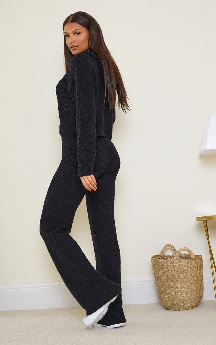 Black Premium Fluffy Knitted Hooded Wide Leg Set 2