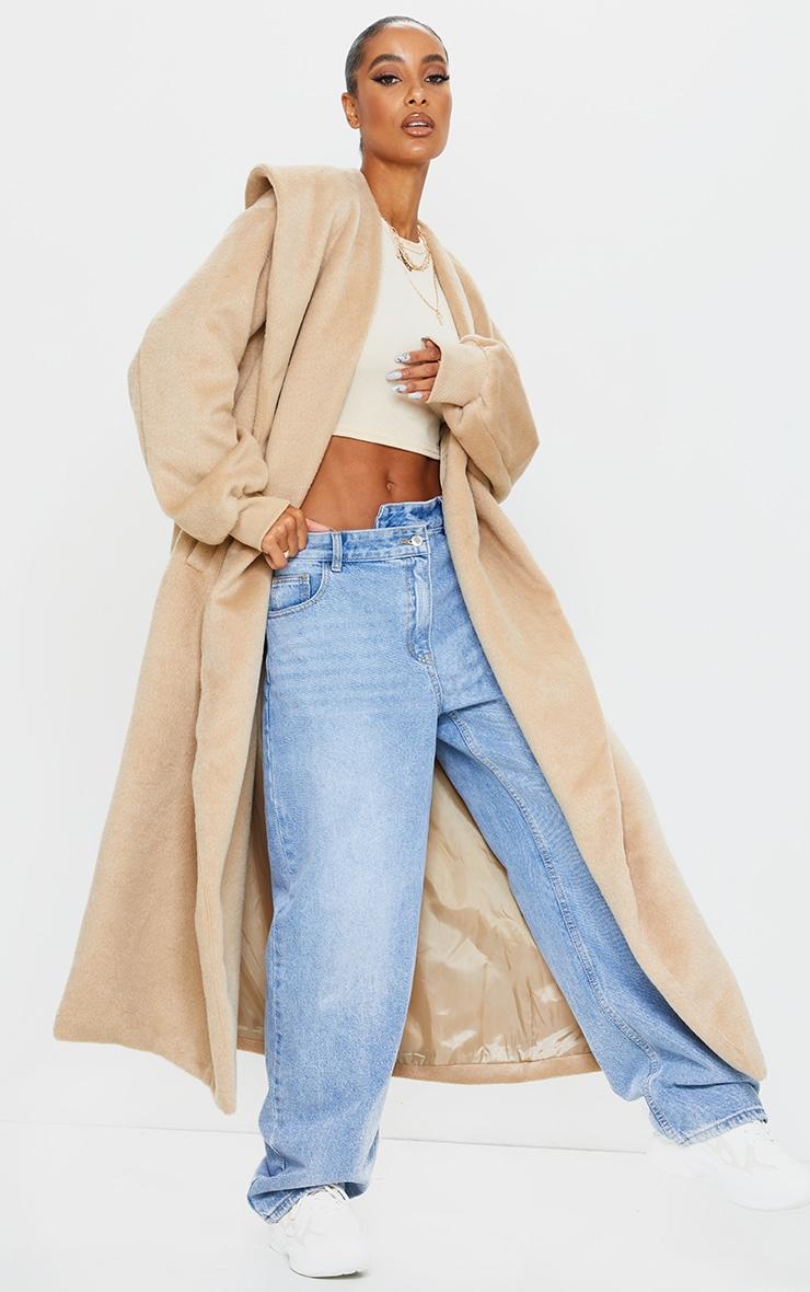 Manteau en laine effet brossé camel à détail col et manches ballon 2