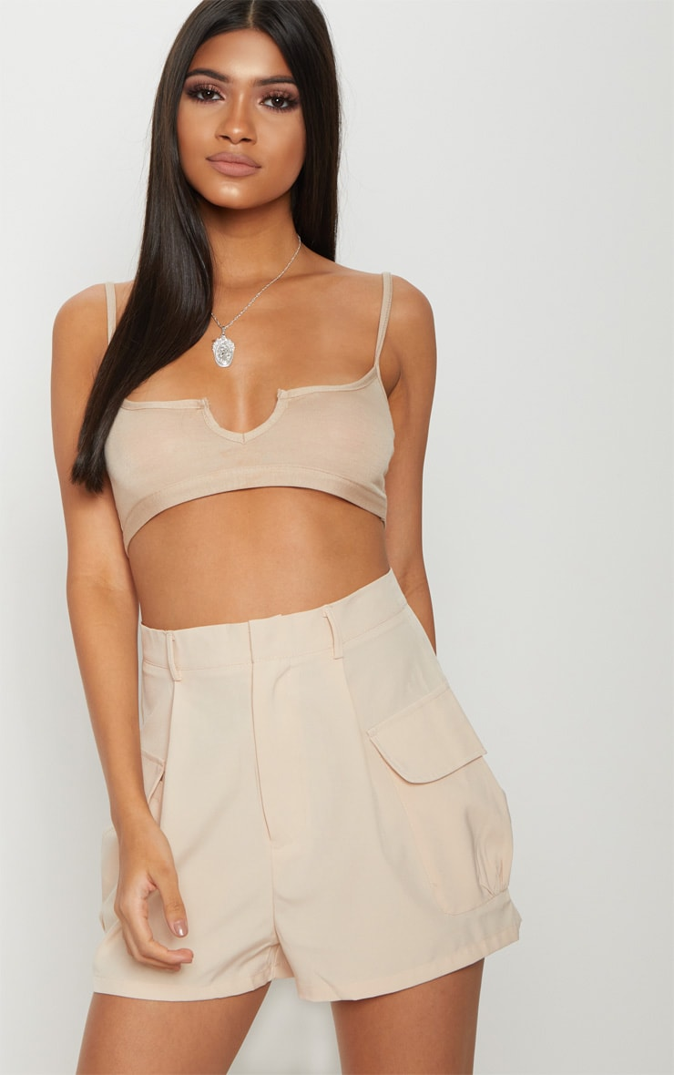 White Basic Jersey Cut Out Bralet