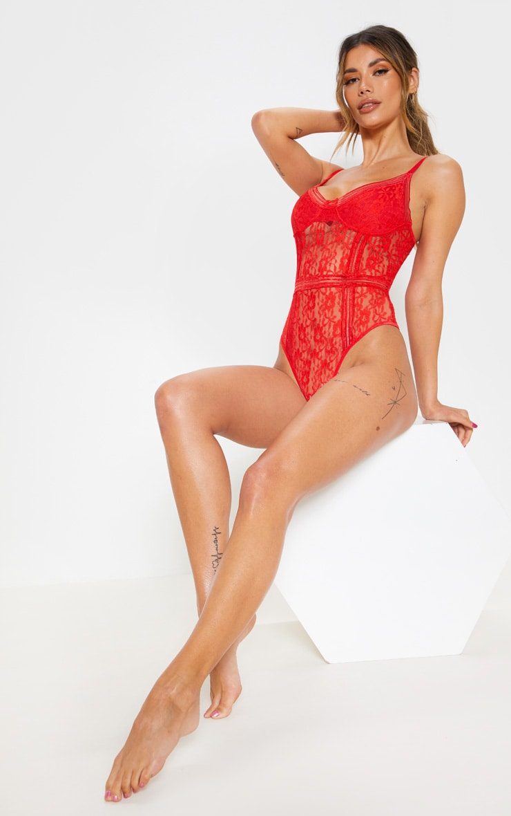Red Lace Cupped stripe Lace Body 5