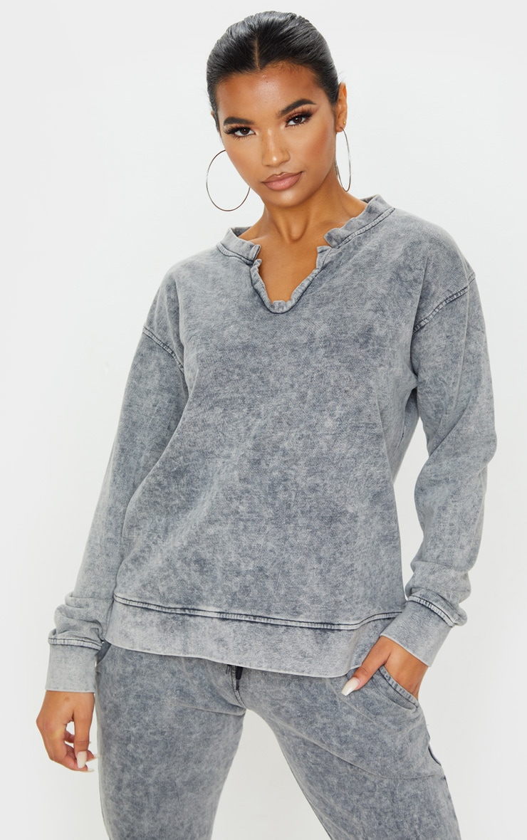 Light Grey V Neck Long Sleeve Washed Sweater 1