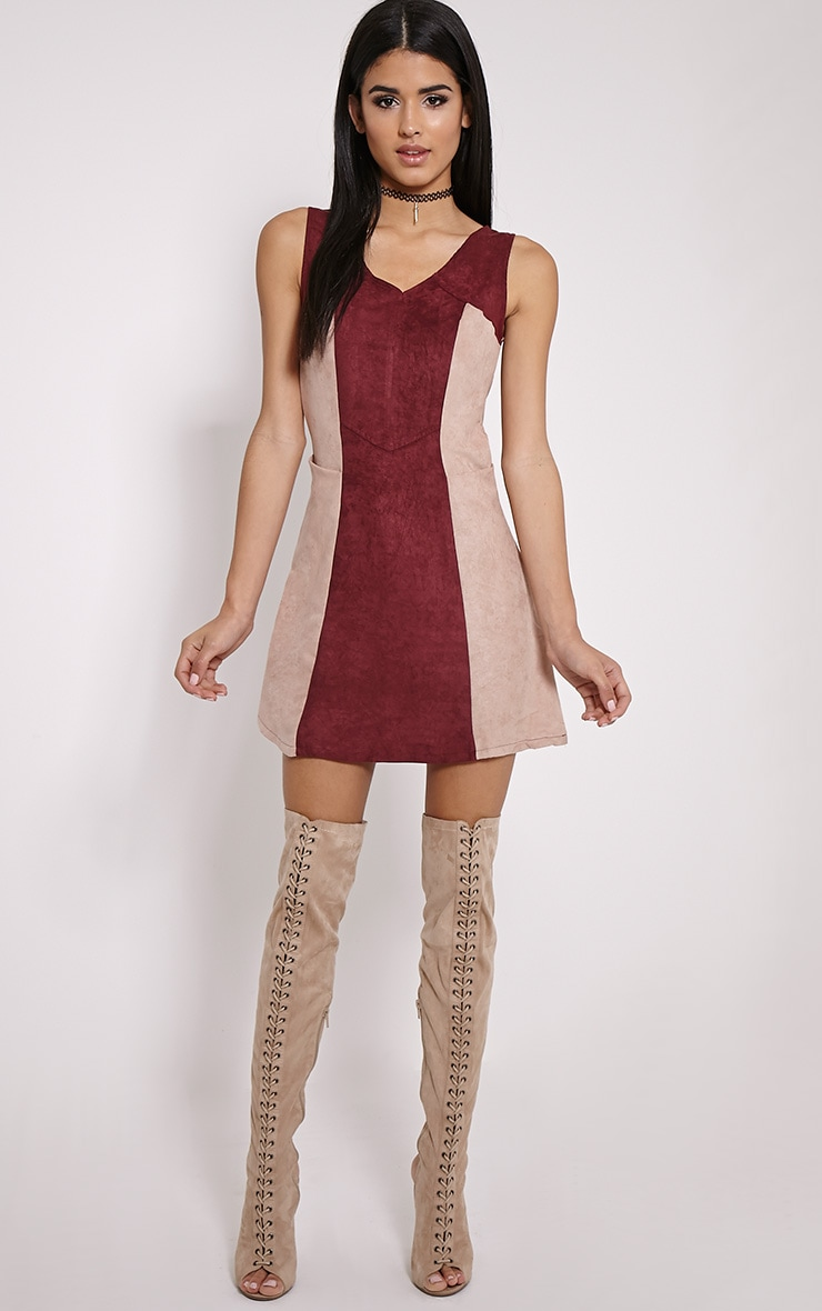 Austen Wine Colour Block Faux Suede Zip Back Dress 3