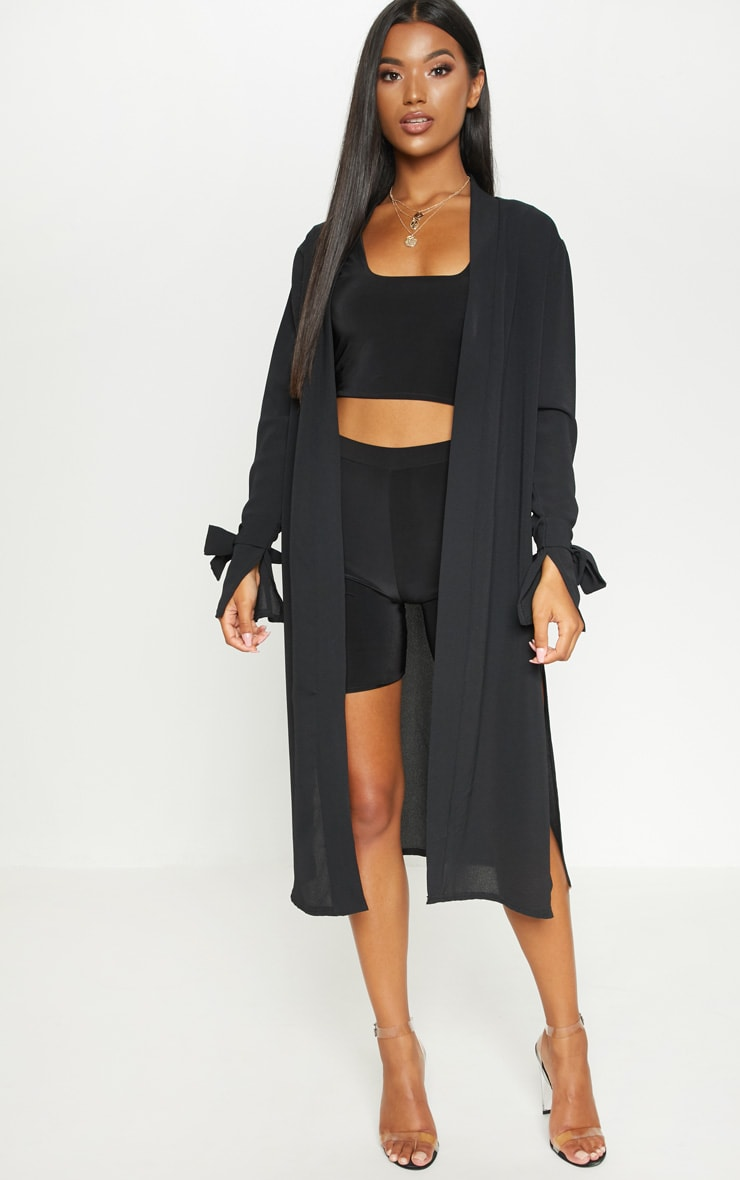 Aba Black Sleeve Tie Detail Duster Jacket 1