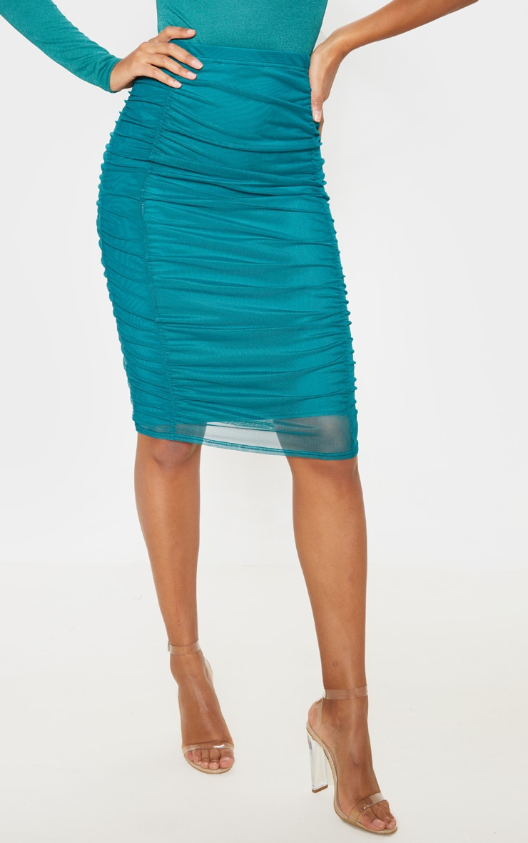 Emerald Green Second Skin Ruched Mesh Midi Skirt 2