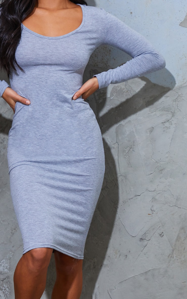 Petite Grey Marl Long Sleeve Jersey Midi Dress 5