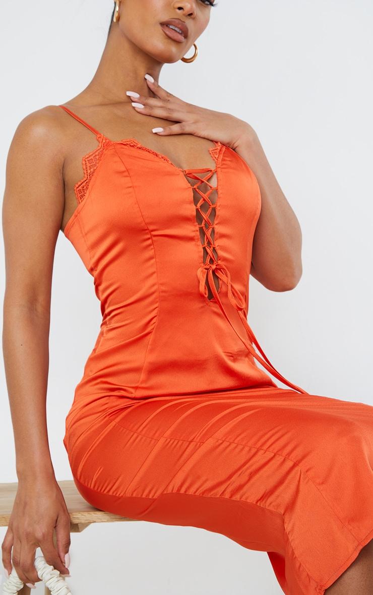 Orange Satin Lace Up Strappy Midi Dress 4