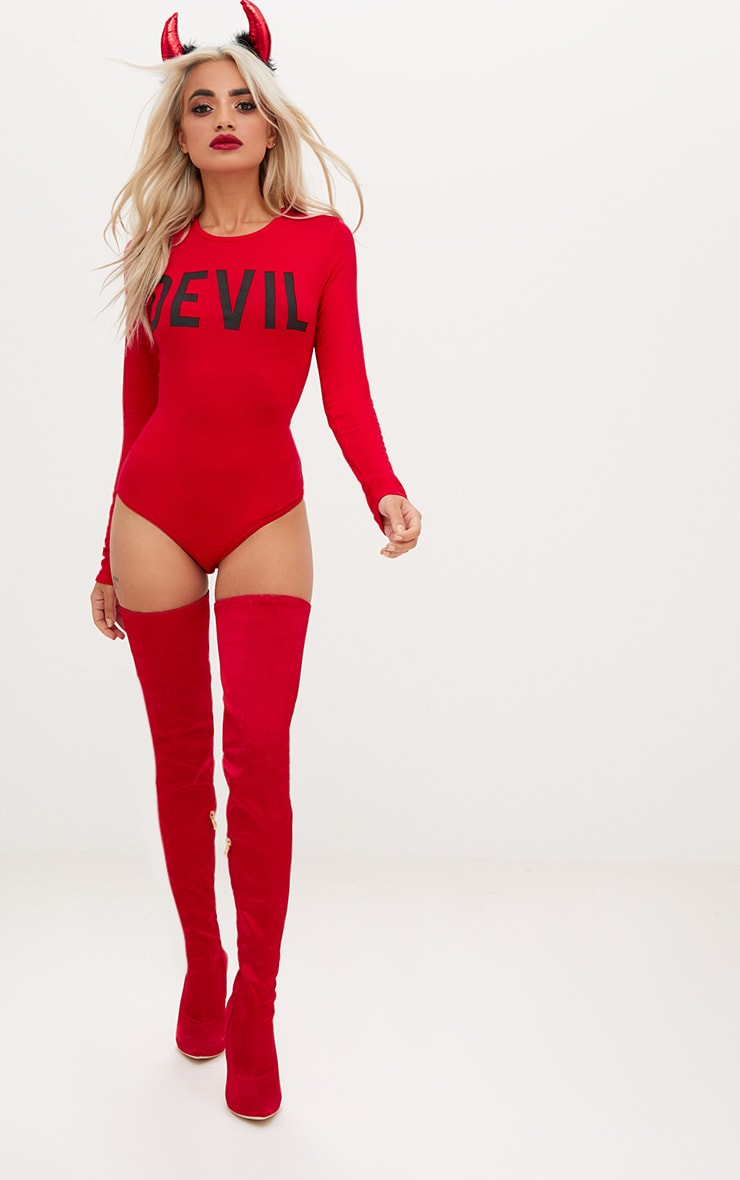 Red Devil Horns Slogan Jersey Thong Bodysuit 2