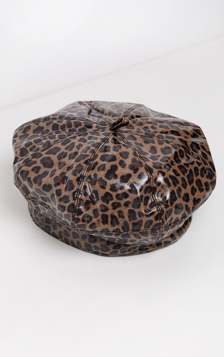 Leopard PU Beret Hat 2
