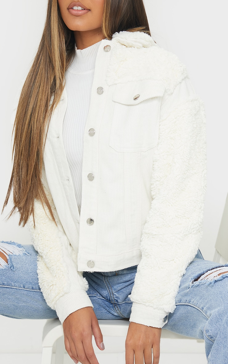 Cream Fur And Cord Denim Jacket 4