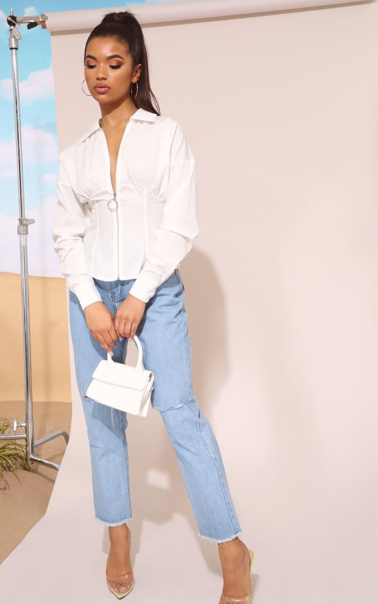 قميص أبيض بتصميم مشد وسحاب 5