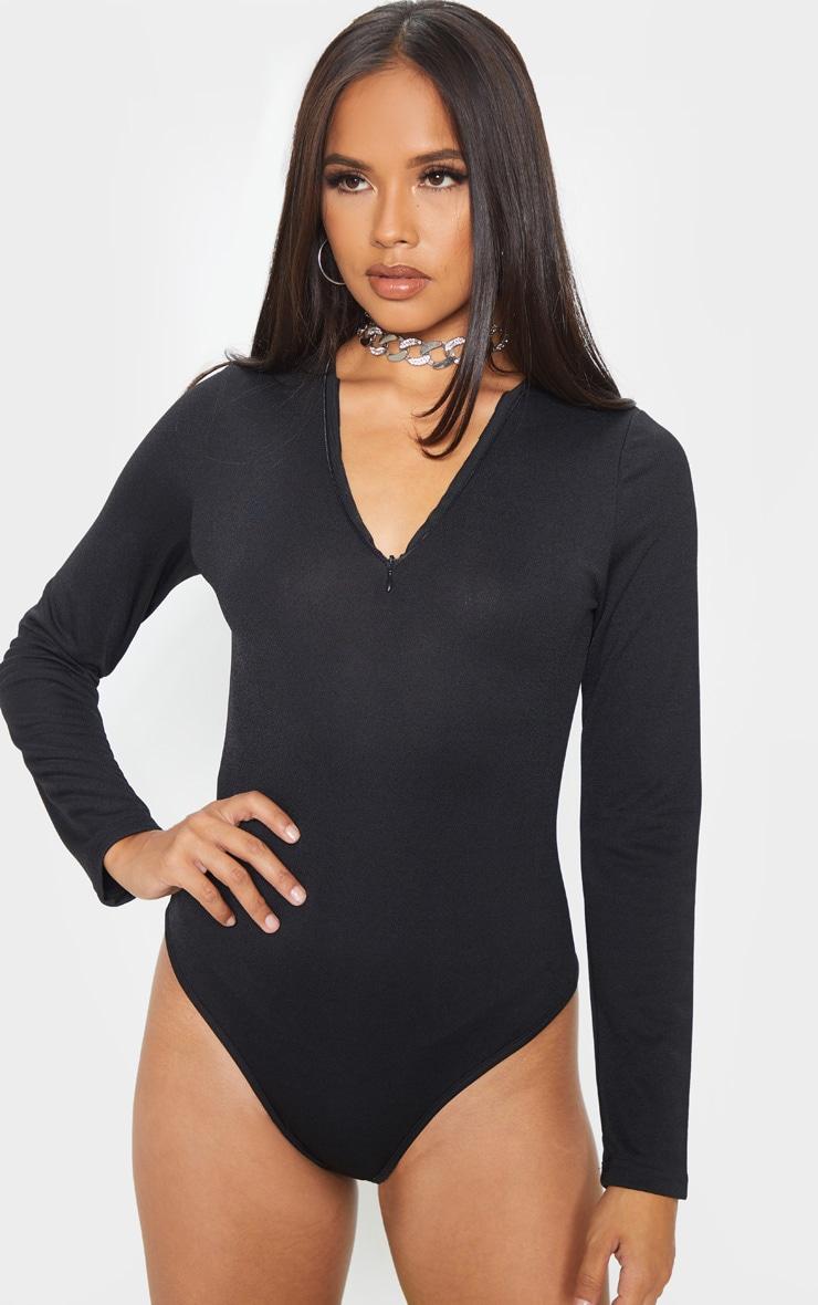 Black Crepe Zip Front Long Sleeve Bodysuit 2