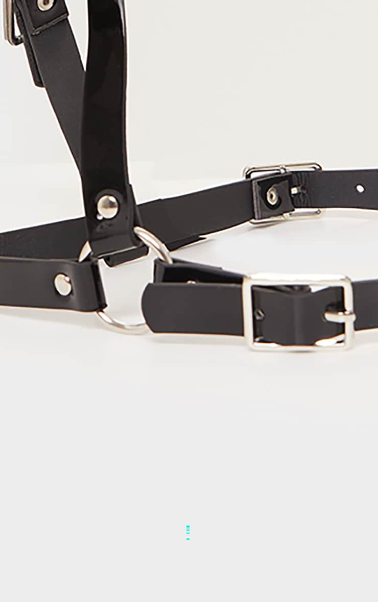 Black PU Bralette Harness 2
