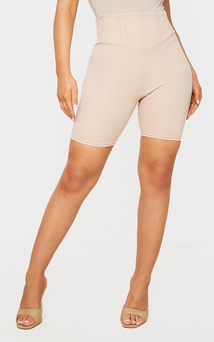 Short-legging gris pierre à détail corset 2