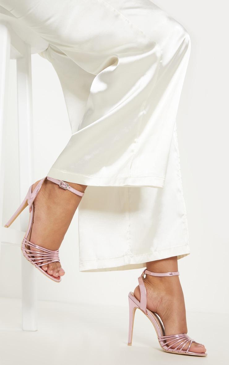 Pink Strappy Toe Metallic Sandal 4