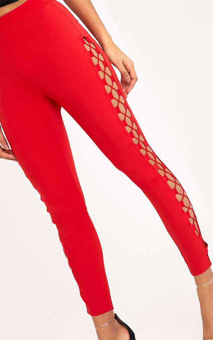 Anetta Red Lace Up Side Cigarette Trousers 5