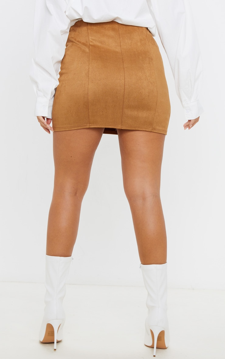 Camel Faux Suede Seam Detail Mini Skirt 4