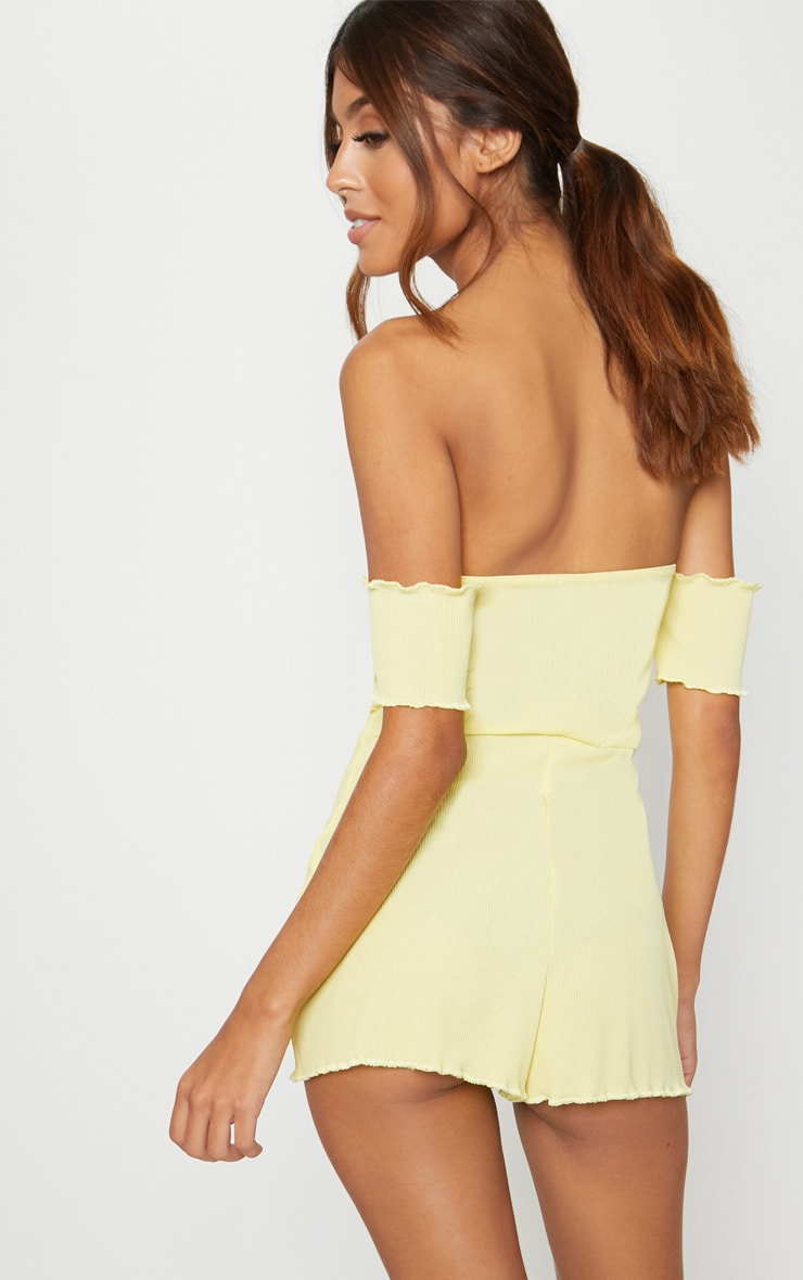 Lemon Ribbed Bardot PJ Romper 2