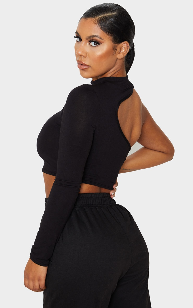 PRETTYLITTLETHING Black Embroidered Cut Out Long Sleeve Crop Top 2