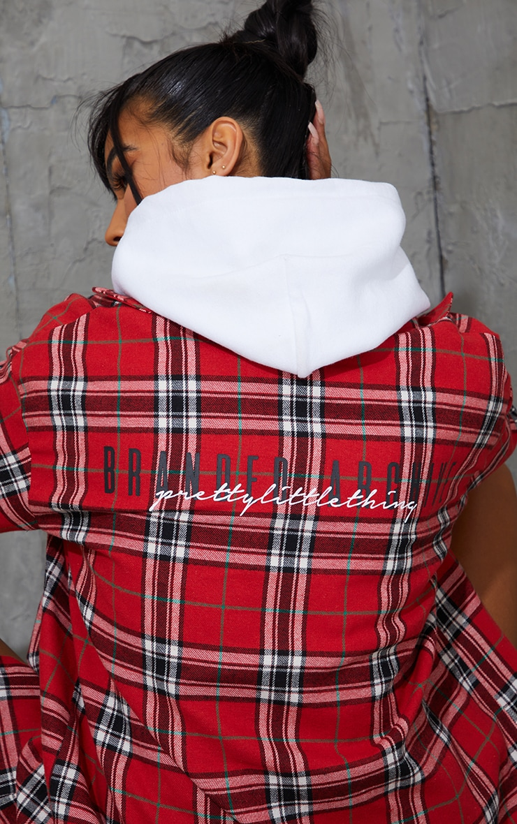 PRETTYLITTLETHING Red Back Print Checked Oversized Shirt 4