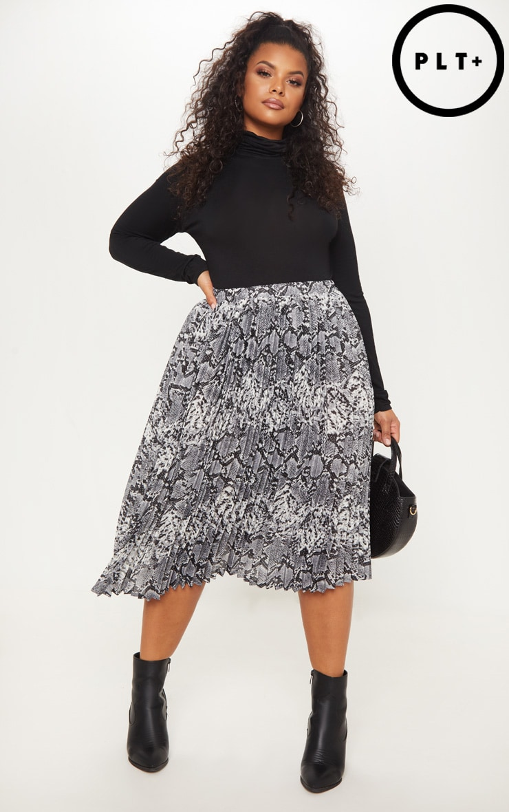 Plus Grey Snake Print Pleated Midi Skirt 1