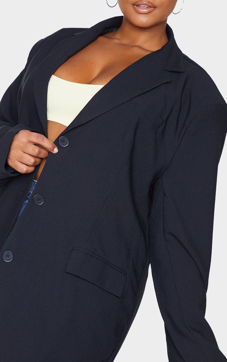 Plus Black Linen Pocket Detail Triple Button Shoulder 4