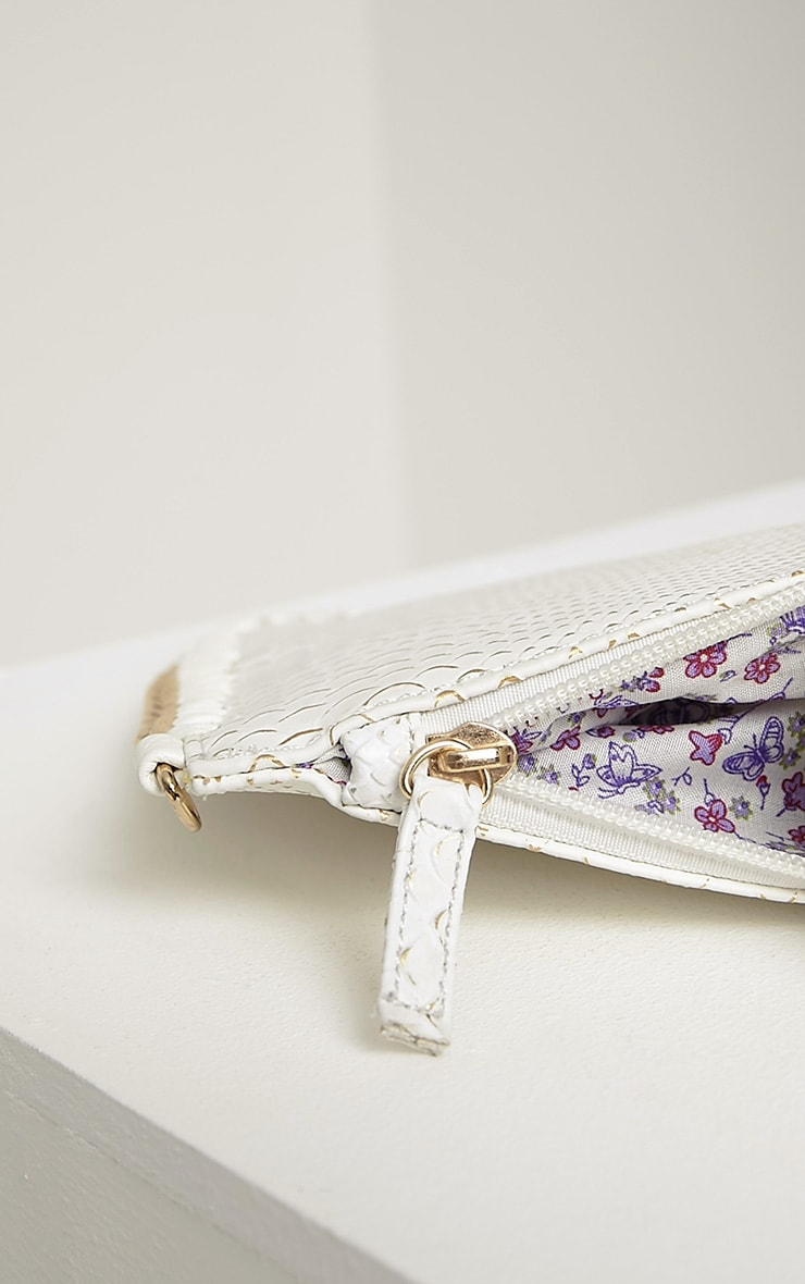 Milly White Snake Print Chain Clutch 5