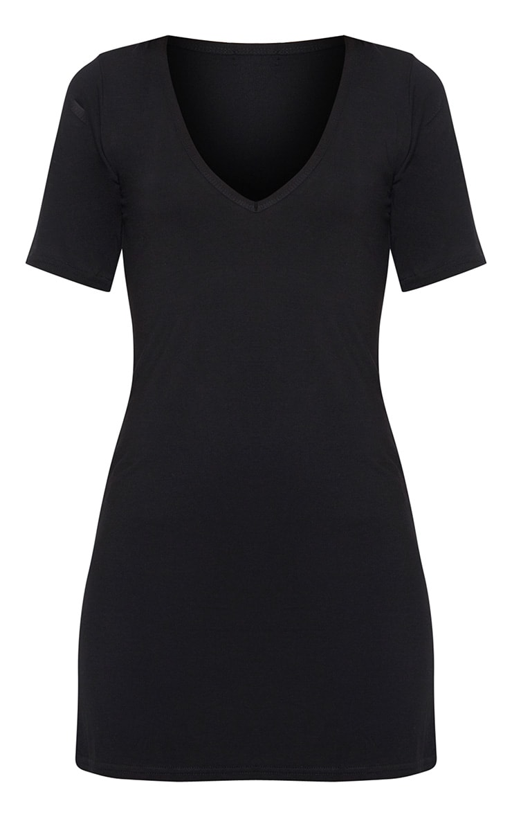 Basic Black Plunge V Neck T Shirt Dress 3