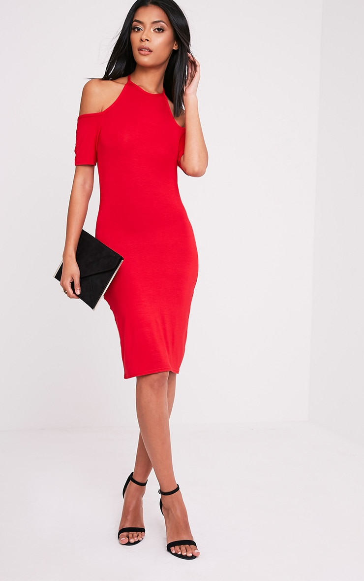 Amara Red Tie Neck Cold Shoulder Bodycon Dress 4